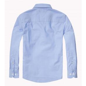Tommy Hilfiger blouse solid oxford shirt in de kleur lichtblauw