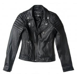 Dekkers pretty cool biker jas van lamsleer in de kleur zwart