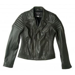 Dekkers pretty cool biker jas van lamsleer in de kleur donkergroen