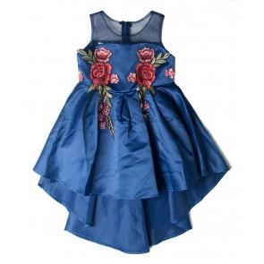 Smile today jurk dress met bloemen applicaties in de kleur blauw