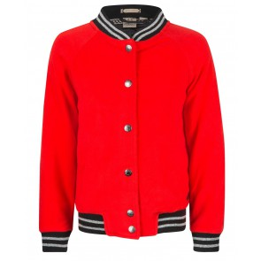 Indian blue jeans fleece bomber jacket in de kleur rood