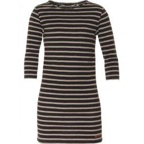 Miss Moscow jurk dress striped cotton jersey grijs/zwart