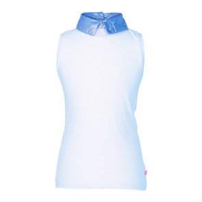 Le Big top met metallic blue kraagje in de kleur lichtblauw