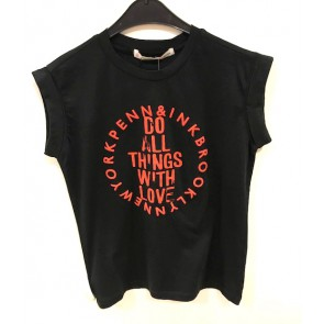 Penn en Ink kids shirt do all things with love in de kleur zwart