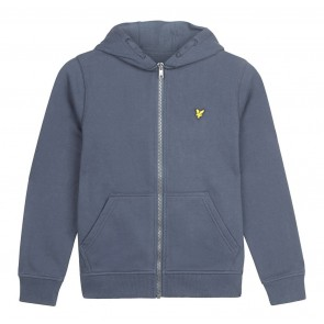 Lyle and scott sweat vest zipper met capuchon in de kleur jeansblauw