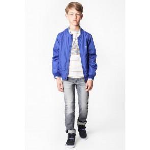 Hugo Boss kids jeans broek skinny fit met adjustable waistband in de kleur grijs