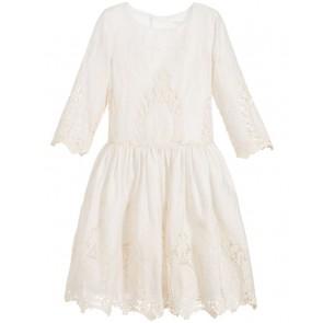 Carrément Beau geborduurde jurk van katoen in de kleur off white