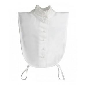 Est'y&ro kraag met opstaande roezel boord en losse manchetten in de kleur wit
