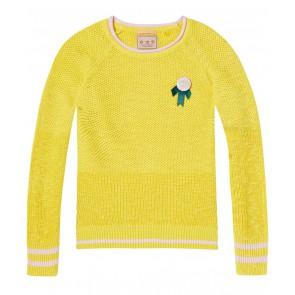 Scotch r'belle gebreide trui van linnen en katoen in de kleur geel