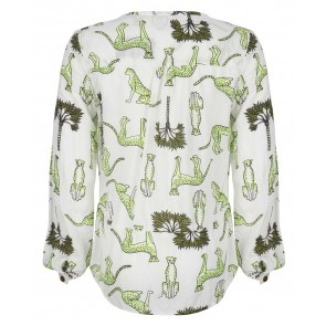 Indian blue jeans blouse met panter print in de kleur off white groen