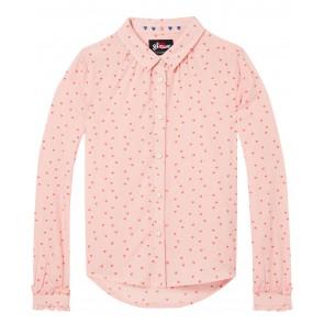 Scotch R'belle blouse hartjes all over print met roezel mouwen in de kleur zacht roze